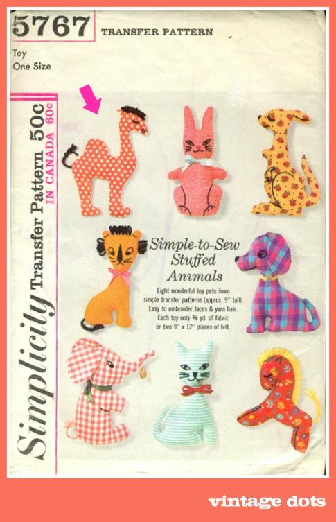 Vintage Stuffed Animal Pattern {with a dotty camel} - On the Dot ...