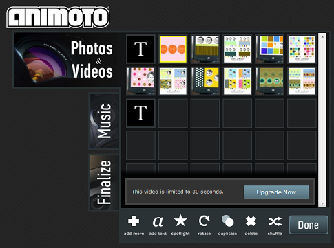 Animoto-Screenshot