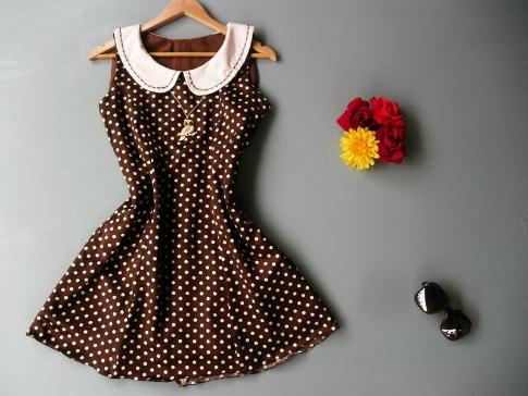 Thaiclothes-Brown-White-Dot-Dress-Handmade