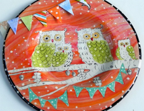 Polka-Dot-Owl-Dinnerplate-Joy-Elizabeth-Ceramics-Etsy