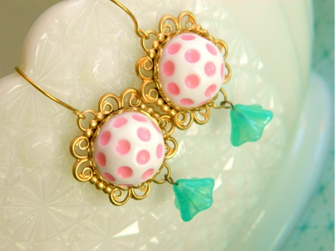 Vintage-Pink-Dot-Earrings-PassingLoveNotes-Etsy