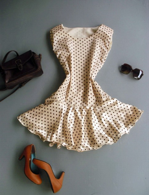 Thaiclothes-Cream-Brown-Dot-Dress-Handmade